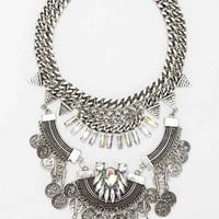 Lalla Rhinestone Statement Bib Necklace - Silver One
