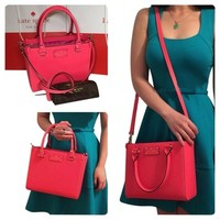 Kate Spade Nwt Wellesley Small Quinn Leather Hot Rose Tote Pink Cross Body Bag 44% off retail