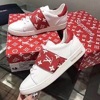 Best Online Sale Hot Supreme x Louis Vuitton LV McQueen Fashion Plate Shoes White Red