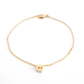 Dainty Bracelet, Tiny Gold Skull, Delicate Fine Gold Chain, Contemporary Minimalist Jewellery