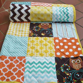 Rustic Baby quilt,patchwork crib quilt,baby boy bedding,baby girl quilt,woodland,modern,teal,orange,brown,yellow,owls,chevron-Must Love Owls