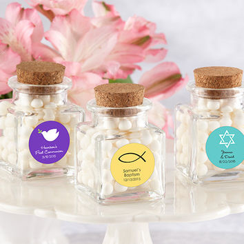 """Petite Treat"" Square Glass Favor Jar - Religious (Set of 12) (Available Personalized)"