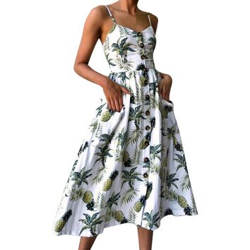Fashion Women Dress Sexy pineapple Printing Buttons Off Shoulder Sleeveless Dress Princess Dresses super quality Ropa Mujer