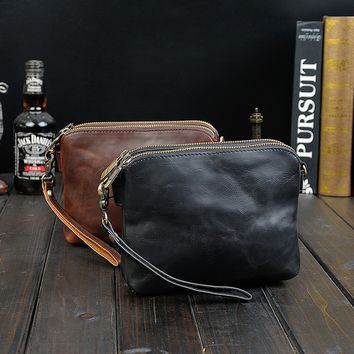 Mens Leather Crossbody Shoulder Clutch Bag