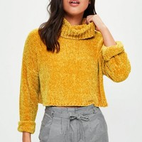 Missguided - Yellow Roll Neck Sweater