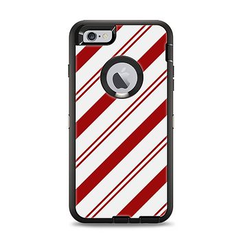 The Red and White Slanted Vector Stripes Apple iPhone 6 Plus Otterbox Defender Case Skin Set