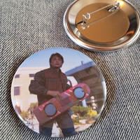 retro style Marty Mcfly Hoverboard pin 2-1/4inch pinback button Back to the Future hand pressed badges 80s 1980s 90s 1990s buttons