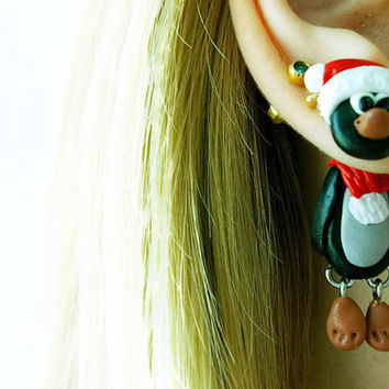 Christmas penguin fake gauge, Xmas fake plug,animal two part earrings, clinging, front back earrings, Unique faux gauge, unusual tunnels