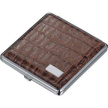 Visol Rich  Brown Croc Embossed Leather Double Sided Cigarette Case Holds 18