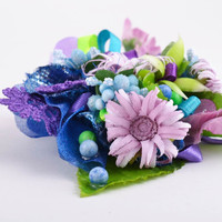 Decorative  flowers for creation of handmade accessories blank for brooch