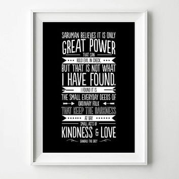 Gandalf Quote Frodo Lord of the Rings Movie Poster - Typography Print, Quote Print, Digital Art Print