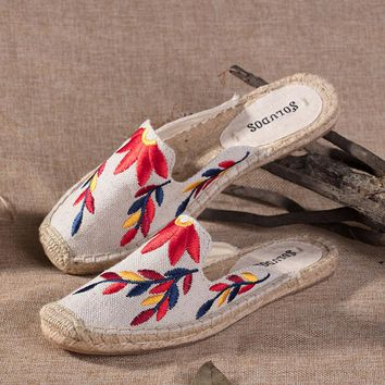 Soludos Multi Embroidered Floral Flame Embroidery Slipper Mule Beige - Best Deal Online