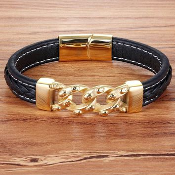 XQNI Magnetic Buckle Stainless Steel Genuine Leather Bracelet For Men Gold Color 3 Style Vintage Jewelry for Birthday Party Gift