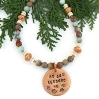 My Dog Rescued Me Artisan Necklace, Jasper Gemstones, Copper, Handmade Jewelry
