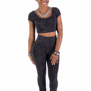 Mineral Wash Leggings & Top Set (Black)