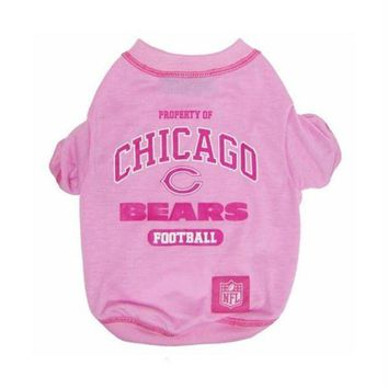 PEAPYW9 Chicago Bears Pink Dog T-Shirt