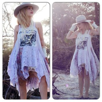 Boho tunic dress, lavender lace dress, Bohemian moon child dress, Romantic clothing gypsy women, Spell gypsy dress, True rebel clothing S M