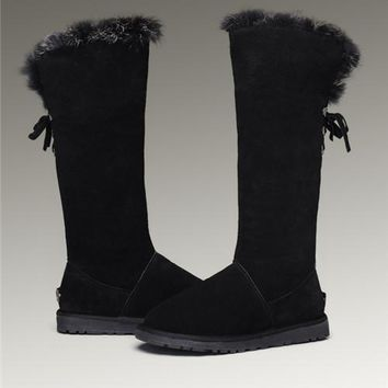 UGG Fox Fur Tall Boots 5369 Black
