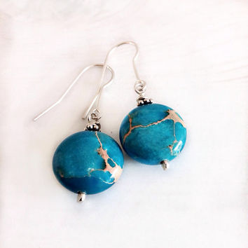 Sterling silver turquoise earrings, blue stone earrings, blue Impression Jasper, dangle earrings, boho style