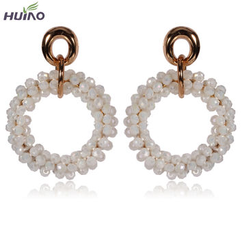 Hot Selling Brand Jewery Luxury Many Small Crystal Beads Round Shape Handmade Vintage Dangle Earrings for Women