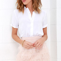 Fly High Blush Pink Feather Mini Skirt