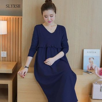 High Neck Knitted Cotton Maternity Dress 2017 Spring Fashion Long Sleeve Clothes for Pregnant Women Pregnancy Clothing