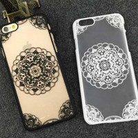 Vintage Lace Floral Transparent Iphone 5 5s 6 6s plus Case