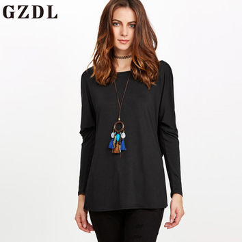 GZDL Fashion Spring Women Long Sleeve Milk Silk Blouses Sexy Backless Ruffles O Neck Casual Loose Blouse Ladies Shirt Top CL3569