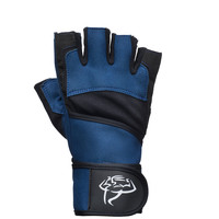 Heavy Duty Blue Weight Lifting Gloves with Padded Palm and Wrist Wraps