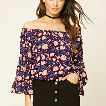 Floral Print Bell-Sleeved Top