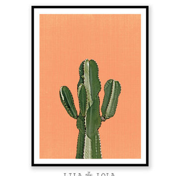 Cactus Print Orange Terracotta Mexican Arizona South Western
