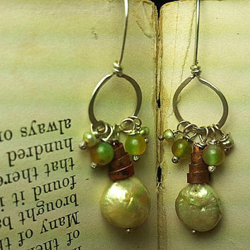 Biwa Pearl Earrings with Copper and Agate on Argentium Silver Ear Wires