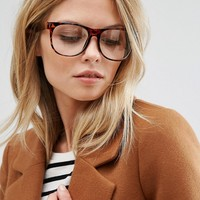 Jeepers Peepers Tortoiseshell Square Clear Lens Glasses at asos.com
