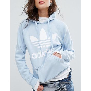Adidas Originals Blue Trefoil Boyfriend Top Sweater Pullover Hoodie
