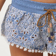 RI Resort light blue embroidered shorts - casual shorts - shorts - women