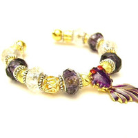 Purple Koi Fish European Charm Cuff Bracelet - Purple, Gold, & Silver - Swinging Tail, Mother's Day  - Free U.S. Shipping
