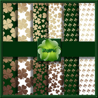 "COMMERCIAL USE OK 6 Digital St Patricks Day Shamrock Green, Gold And White, Scrapbook Papers, 12""x12"" 300Dpi Instant Download"