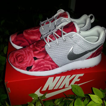 Pink Floral Rose Custom Nike Roshe Run- Bridesmaid Gift