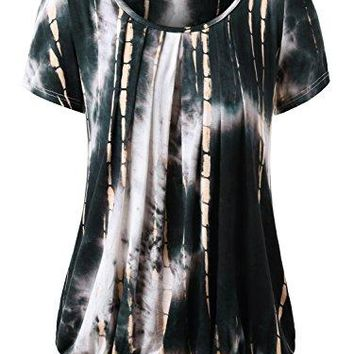 DJT Womens Short Sleeve Pleated Front Blouse Tunic Top