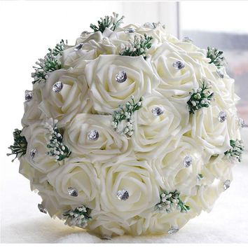 Large Crystal Wedding Bouquets All Handmade Bridal Bouquet Rose Wedding Flowers Bridal Bouquets