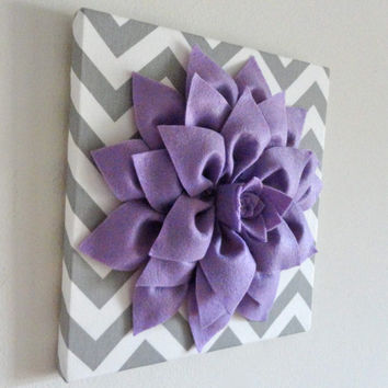 "12""x12"" Felt  Flower, Flower Canvas, Canvas Art, Chevron, Nursery Decor, Dahlia Flower"