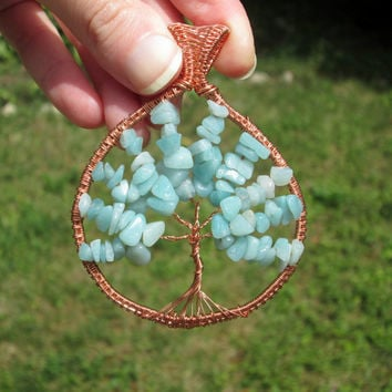 amazonite tree of life pendant necklace,wire tree of life,family tree,tree of life jewelry,copper wire wrapped pendant,gift for her,blue