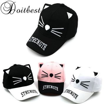 Children Cat Whiskers Snapback Baseball Cap - 2-8 Years OId