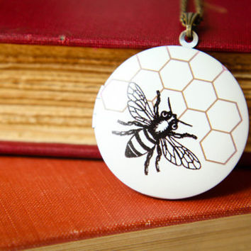 Bee and Honeycomb Locket Necklace