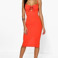 Norma Cup Detail Lace Up Midi Bodycon Dress
