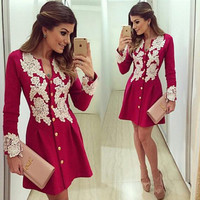11.11 on sale Autumn new fashion long sleeve women lace dress casual Red Button party elegant mini dresses ukraine office dress