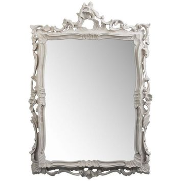 GM Luxury Bernini Rectangular Decorative Wall Art Hand Carved Mirror, Solid Wood 32x45