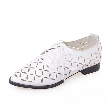 Lace Up Hollow Out Women Puppy Heel Shoes Big Size 9495