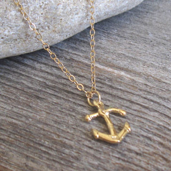 Men's Necklace - Gold Plated Anchor Pendant - Mens Jewelry - Anchor Jewelry - Sailor Jewelry - Nautical Jewelry - Gift For Him