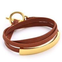 Graham Leather Triple Wrap Bracelet
